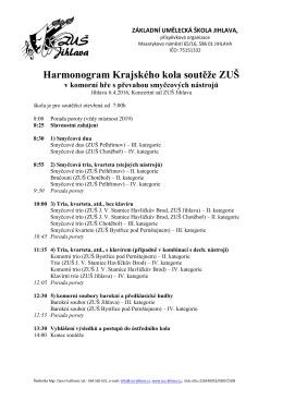 Harmonogram Krajského kola soutěže ZUŠ