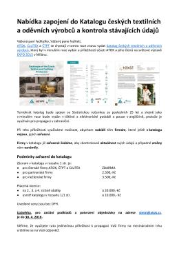 Nabídka zapojení do Katalogu českých textilních a oděvních