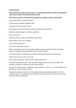 Pravidla rybolovu: Prodej povolenek kancelář firmy Ikov trade a.s.