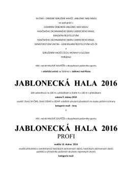 JABLONECKÁ HALA 2016 - Sdružení hasičů Čech, Moravy a Slezska