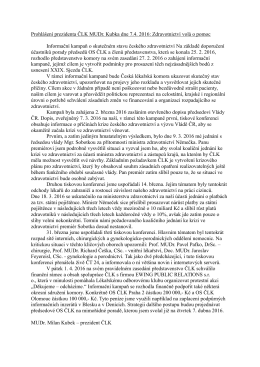 Zdravotnictví volá o pomoc - Česká lékařská komora