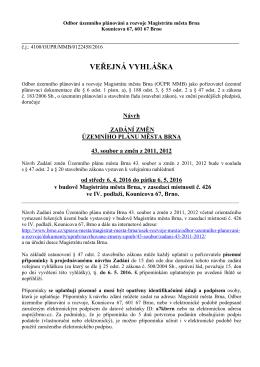 návrh Zadání změn ÚPmB 43. soubor a změn z 2011 - Brno