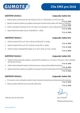 Cíle EMS pro 2016