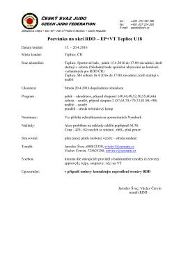 Pozvánka na akci RDD – EP+VT Teplice U18