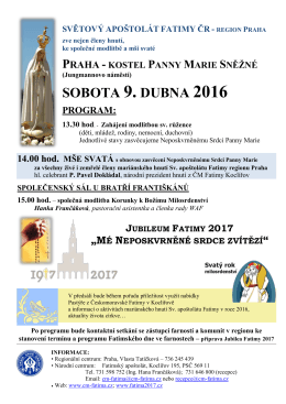 SOBOTA 9. DUBNA 2016 PROGRAM