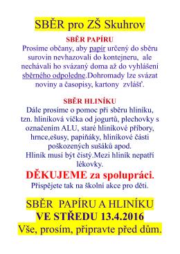 Sběr pro ZŠ Skuhrov