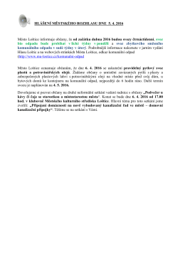 Hlášení městského rozhlasu dne 5.4.2016
