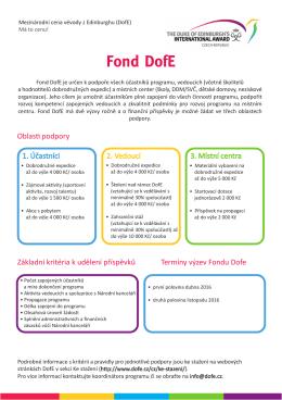Obecné informace o Fondu - Mezinárodní cena vévody z Edinburghu
