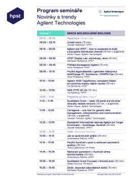 Program semináře Novinky a trendy Agilent Technologies