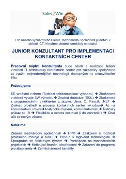 junior konzultant pro implementaci kontaktních center