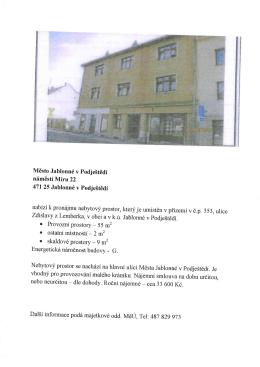 Pronájem nebytového prostoru Jablonné v Podještědí