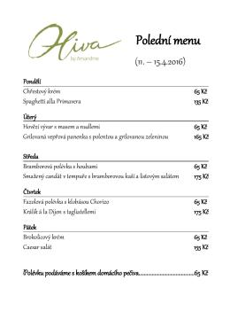 Polední menu - Oliva Restaurant