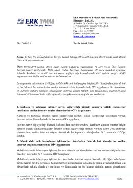 2016/35 - Kablolu, kablosuz ve mobil internet servis