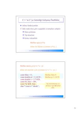 C++`ın C`ye Getirdiği Gelişmiş Özellikler
