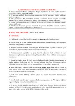 8. SINIF MATEMATİK PROJE KONULARI (2015