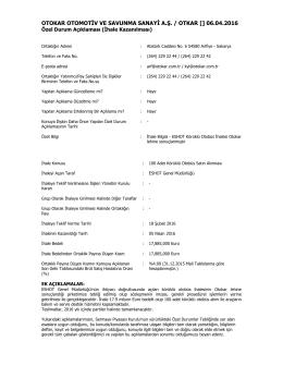 Özel Durum Açıklama Formu - 06.04.2016