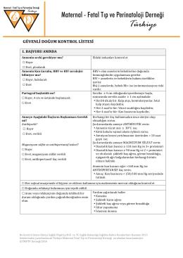 güvenli doğum kontrol listesi - Türkiye Maternal Fetal Tıp ve