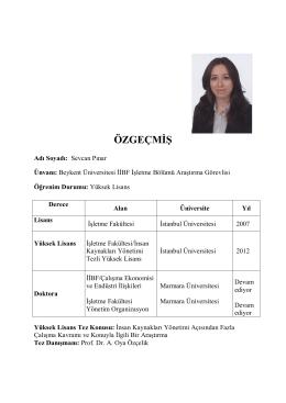 ÖZGEÇMİŞ - Beykent Üniversitesi
