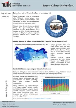 İstihdam oranının en yüksek olduğu bölge TR21 (Tekirdağ, Edirne