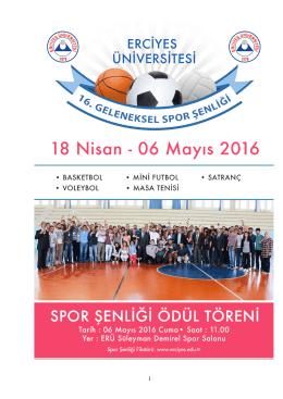 Erciyes Üniversitesi 16. Geleneksel Spor Şenliği Kitapçığı İçin
