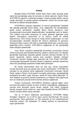 SUNUŞ Mustafa Kemal ATATÜRK, tarihte hiçbir liderin sahip