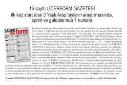 16 sayfa LİDERFORM GAZETESİ ilk kez start alan