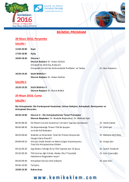 bilimsel program - KemikEklem 2016