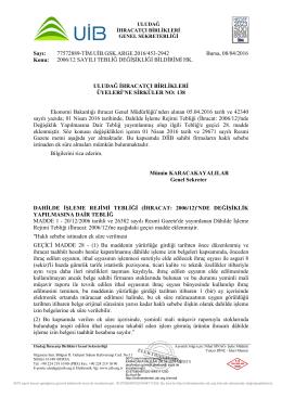 2006/12 SAYILI TEBLİĞ DEĞİŞİKLİĞİ BİLDİRİMİ HK.