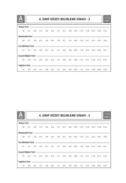 4.Sınıf Cevap Anahtarları