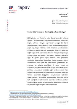 Suriye Krizi Turkiye de Halk Sagligini Nasil Etkiliyor
