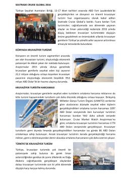 SEATRADE CRUISE GLOBAL 2016 Türkiye Seyahat