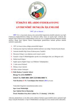 türkiye bilardo federasyonu antrenörü denklik işlemleri