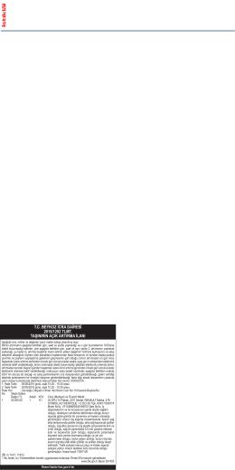tc beykoz icra dairesi 2015/1292 tlmt. taşınırın açık artırma ilanı