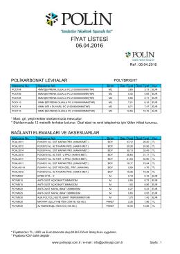 Fiyat Listesi - Alüminyum kompozit panel , polikarbonat levhalar