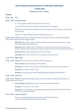 kamu sermayeli işletmelerde iyi yönetişim konferansı 7 nisan 2016