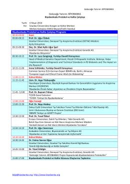 BİYOBANKA Biyobankada Protokol ve Kalite Çalıştay Programı