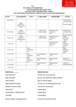 İlan Tarihi: 06.04.2016 - Sağlık Bilimleri Fakültesi