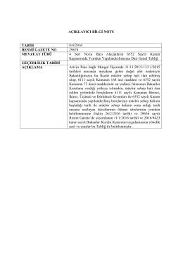 AÇIKLAYICI BİLGİ NOTU TARİH 8/4/2016 RESMİ GAZETE NO