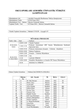 2015-2016 okulsporları aerobik cimnastik türkiye birinciliği yarışma