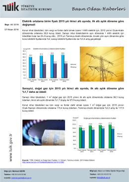 Elektrik ortalama birim fiyatı 2015 yılı ikinci altı ayında, ilk altı aylık