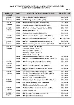 Üst Komisyon Programı 2013-2014
