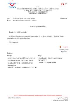 06.04.2016 - Devlet Demir Yollari 6.Bölge