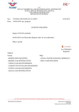 11.04.2016 - Devlet Demir Yollari 6.Bölge