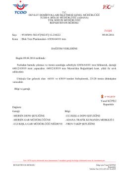 09.04.2016 - Devlet Demir Yollari 6.Bölge