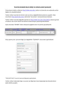 telefon rehberi bilgi girişi ve güncelleme işlemleri