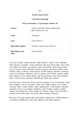 T.C. MALİYE BAKANLIĞI Gelir İdaresi Başkanlığı 5520 sayılı