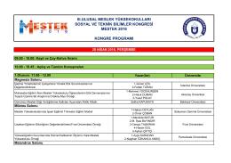 MESTEK 2016 Bildiri Programı - Adnan Menderes Üniversitesi