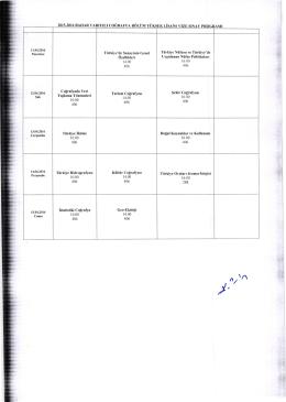 2015-2016 Bahar Yarıyılı Coğrafya Anabilim Dalı Vize Sınav Programı