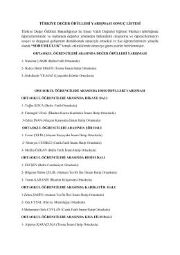 Türkiye Değer Ödülleri Yarışması Sonuç Listesi