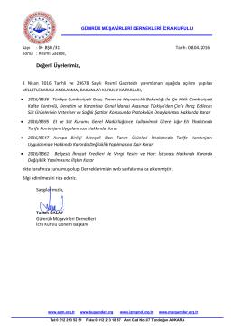 2016.04.08 İK-BŞK-31 İcra Kurulu ortak duyurusu 08 Nisan Resmi